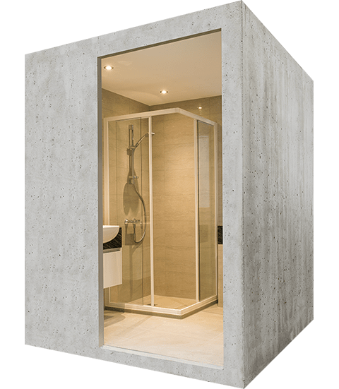 Lightweight concrete bathroom pod