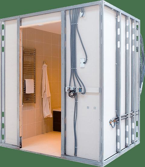 Superlight steel frame bathroom pod